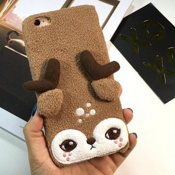 Cute Deer Furry iPhone 6 6s Plus Case Gift-135-170928