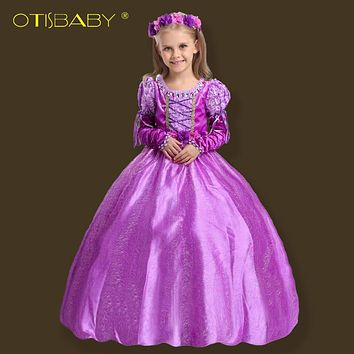 Christmas Fancy Girls Rapunzel Princess Dress Kids Sofia Party Girl Dress Baby Winter Aurora Children's Costume ankle Long Dress