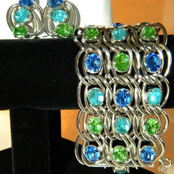 Classy Vintage Rhinestone Bracelet Earring Set Wide Chunky Aqua Blue Green Demi Parure 1950s 1960s Hollywood Regency Jewelry