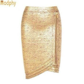 CREYCI7 Women gold foil bandage skirts zipper asymmetric rayon spandex mini sexy bodycon pencil skirt HL for nightclub fashion HL410
