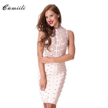 CIEMIILI 2018 Women Prom Party Summer Mesh Bandage Dress Studded Button Sleeveless Knee-length Celebrity Cocktail Bodycon Dress