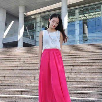 High Waist Maxi Skirt Chiffon Silk Skirts Beautiful Bow Tie Elastic Waist Summer Skirt Floor Length Long Skirt (037), #110