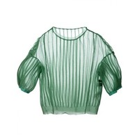 UNDERCOVER - Pleated Sheer Top - 01904 EMERALD - H. Lorenzo