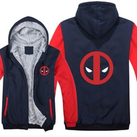 New Winter Deadpool Hoodie Winter Fleece Super Heroes Sweatshirt Warm Zipper Thick Deadpool Sweatshirt Jacket Hooded M-5XL