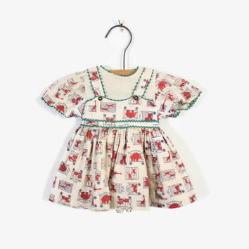 Vintage 40s Girl's Dress / 1940s Novelty Circus Print Newborn Baby Preemie Doll Dress