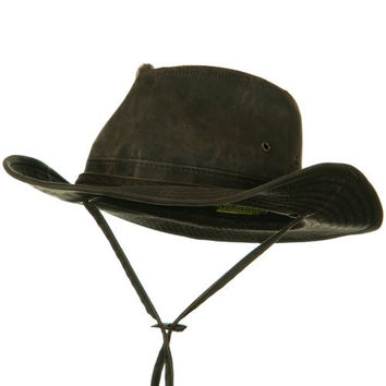 UPF 50+ Weathered Cotton Outback Hat - Brown XL