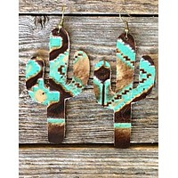 Handcrafted Leather Cactus Earrings