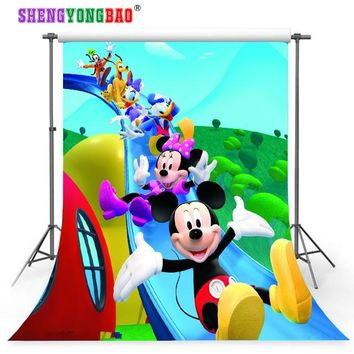 SHENGYONGBAO Mickey Mouse theme Art Cloth Custom Photography Backdrops Prop  Studio Background NMLS-1001