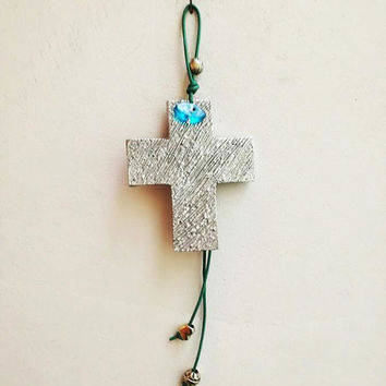 Modern wall cross, silver wall cross, aluminum, hammered cross sculpture with blue eye charm and blue leather cord, Greek cross charm