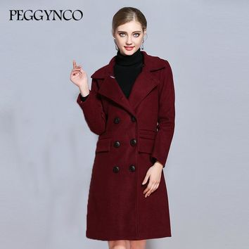 PGGYNCO 2017 Women's Wool Blends Coat Winter Fashion Slim Long Warm Outerwear Big Size Female Out Dress MY2017142
