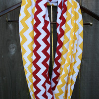 Infinity Scarf // Red/Yellow Chevron Jersey Knit // Toddler/Youth/Adult/Long // Kansas City Chiefs/Calgary Flames
