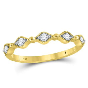 10kt Yellow Gold Women's Round Diamond Stackable Band Ring 1/8 Cttw