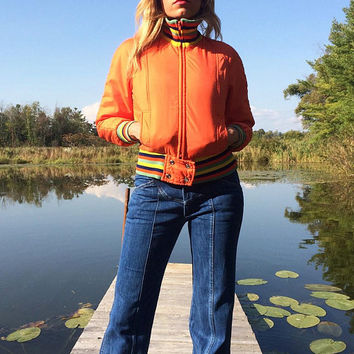 Vintage 1970's SKI Bunny Cropped Zip Up Bomber Jacket || Tangerine With Racing Stripes || Size XS To Small
