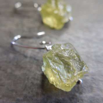 Raw Crystal Earrings, Lemon Yellow Quartz, Petite Jewelry, Hello Sunshine, Dangle Style, Femine Design, Sterling Silver, Simple Ear Hooks