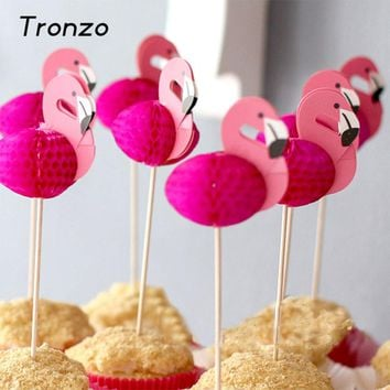 Tronzo 10PCS Flamingos Cupcake Topper Wedding Decoration Tropical Party Supplies Shower Favor