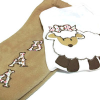 Baby Girl clothes -  3 - 6 month Baby Girl Lamb Shirt and Pant Set - Lamb for Baby Girl