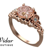 Flower Engagement Ring,Unique Engagement Ring,Rose Gold 1.5 Carat Ring By Vidar Jewelry Botique,Morganite Engagement Ring,Floral Ring,Luxury