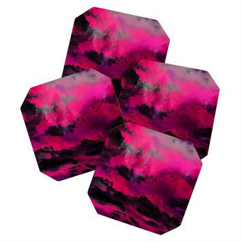 Caleb Troy Raspberry Storm Clouds Coaster Set