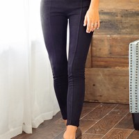 * Give Me A Call Suede Skinny Pant: Black
