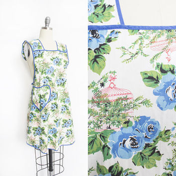 Vintage 1950s Apron - NOVELTY Print Blue Rose & Birdcage Floral Cotton 50s