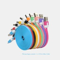 Antopos(TM) Charger Cord Cable for iPhone 5, Ten Feet 10 Feet OR Six Feet 6 Feet Extra Long Charging Chargers Cord Cable, UBS 8 Pin Lightning Cable Extended Charger Noodle Flat Cable for iPhone 5 iTouch 5 iPad 4 iPad Mini Nano Latest Model (10 Feet Blue)