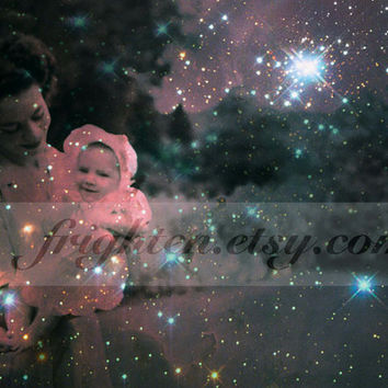 Astronomy Art, Star Baby, Mixed Media Collage Print