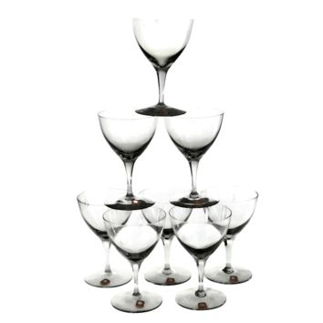 Dartington Cocktail Coupes, Hand Blown Crystal, Smokey Black, Set of 8