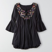 AEO EMBROIDERED LONG SLEEVE DRESS