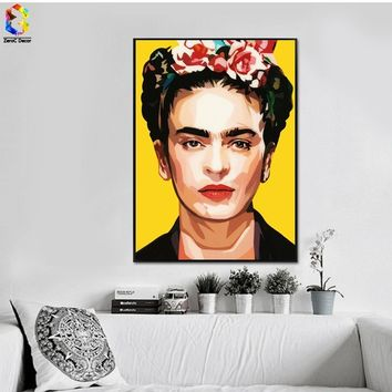 Art Canvas Print Poster Frida Kahlo as A Hipster by Fab Ciraolo Wall Decor Canvas Painting Wall Picture for Bedding Room