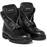 Balmain - Zip-Front Leather Boots