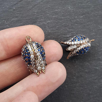2 Mini Tulip Antique Bronze Turkish Tassel Bead Cap with Blue White Rhinestone Crystal Accents- 2PC