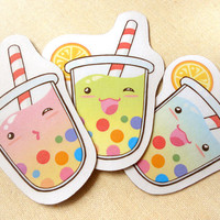 Cute Summer Tropical Tapioca Bubble Tea Magnet Set of 3 - Bendable Kitchen Fridge Colorful Rainbow Magnets- Funny Kawaii Gifts, Party Favors
