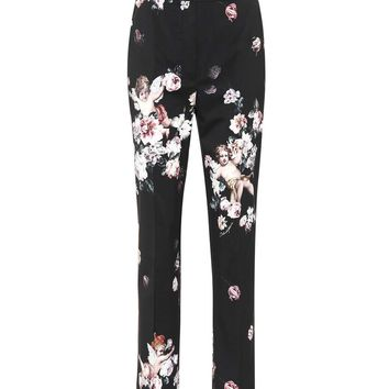 Floral wool straight-leg pants