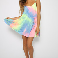 Tie Me Up Dress - Rainbow Print Tie Dye Dress