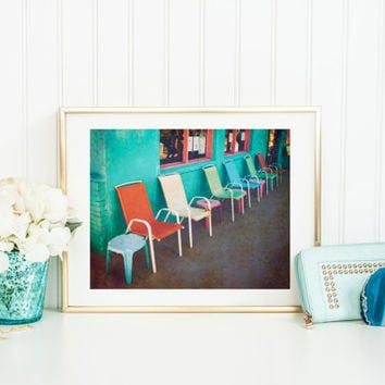 Vintage print, digital download, row of chairs, colorful printable, row of chairs, fine art photography, wall art, home decor, bright colors