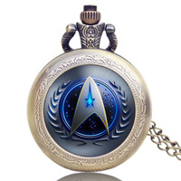 Hot Selling Style Star Trek Theme 3 Colors Pocket Watch With Necklace Chain High Quality Fob Watch