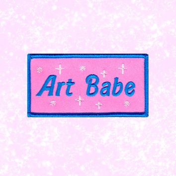 Art Babe Embroidered Iron-On Patch - Artist Feminist Girl Power Patch Game Girlfriend Gift