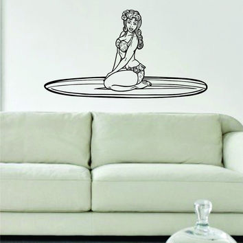 Surfer Girl Pin Up Model Ocean Beach Design Decal Sticker Wall Vinyl Decor Art