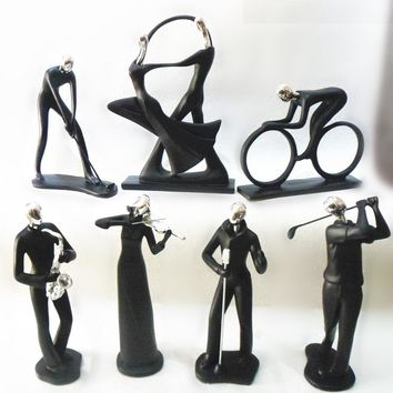 Home Office Decoration Ornaments Abstract Human Sculpture Resin Statue Violin Musical Dancing Cycling Resin Sculpture Collection