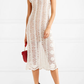 Self-Portrait - Crocheted cotton midi dress
