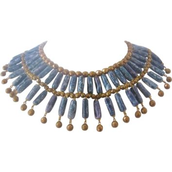Vintage Statement Egyptian Style Collar- Art Glass Bead Necklace