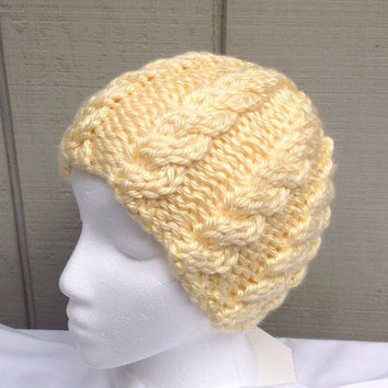 Womens beanie - Chunky knit beanie  - Yellow cabled hat - Teens hat
