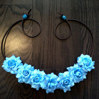 Blue Rose Flower Headband, Flower Crown, Flower Halo, Festival Wear, EDC, Neon, Coachella, Ezoo,Ultra Music Festival, Rave