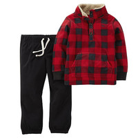 Carter's Boys 2 Piece Red/Black Gingham Print Microfleece Kangaroo Henley Sweater and Black Microfleece Pant Set