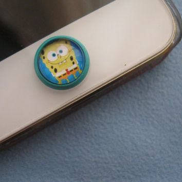 Retro Epoxy Retro Epoxy SpongeBob Transparent Time Gems Alloy Cell Phone Home Button Sticker Charm for iPhone 4,4s,5,5c iPad iTouch