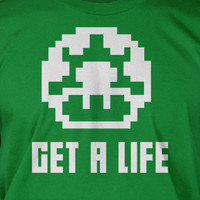 Get A Life Mushroom Retro Video Game Screen Printed T-Shirt Tee Shirt T Shirt Mens Youth Kids Funny Geek