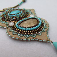 Bead Embroidery necklace Eastern Wind by BeadStitch on Etsy