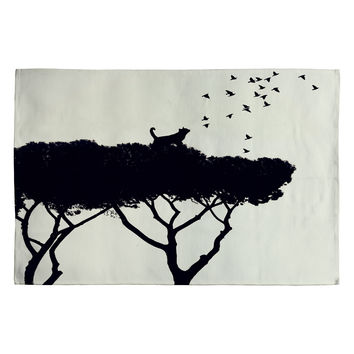 Belle13 Cat and Birds Woven Rug