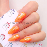 Stiletto, 20pcs, Orange & Hologram Stiletto Hand Painted False Nail Tips / Press On / Stick On / Fake Nails  - Glossy