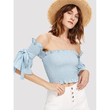 Frill Trim Tie Detail Shirred Blouse Blue
